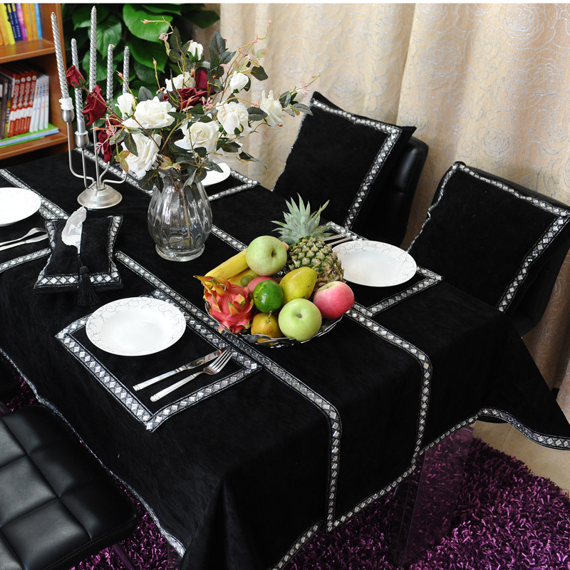 Freeshipping-Luxury-black-flannelet-diamond-buckle-font-b-table-b-font-cloth-51-71-font-b