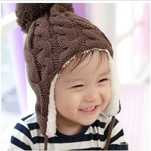 2014-New-Baby-Caps-Free-Shipping-Hemp-Pattern-Knitting-Children-s-Lovely-Warm-Hats-Wool-Beanies